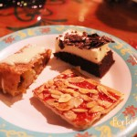 Apple Streusel with Vanilla Sauce, Black Forest Cake, and Florentiner Cookie