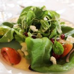 Boston Bibb Salad over Mache with Green Apple, Craisins, and Goat Cheese