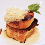 Charcoal-Grilled Georgia Peaches with Vanilla Mascarpone, Bourbon French Toast