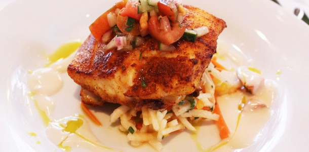 Gulf Wild Red Sanpper with Jicama Slaw and Heirloom Tomato Ceviche
