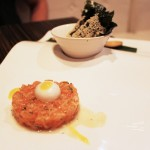 It's No Yolk Salmon Tartare and Coconut Yolk with Seaweed Crackers